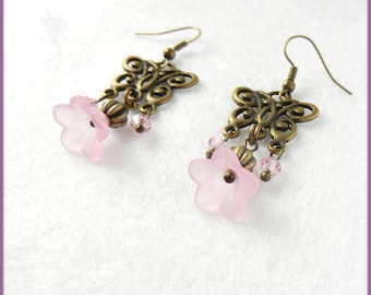 """Earrings """"Butterfly and flower"""" pink and brass"""