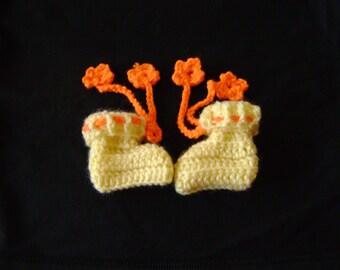 Yellow Baby Booties with orange ties, Baby Boy Girl Booties crochet handmade