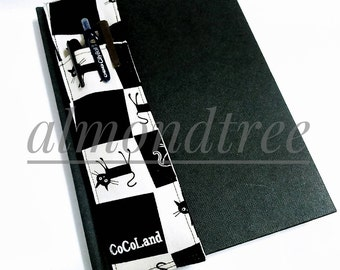 Cat Black and White journal notebook pen holder sketch book bandolier stationery id20160921 gift artist writer plein air drawing tool