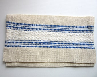 Scandinavian Handkerchief or Silverware Case Natural Linen Blue White Ecru
