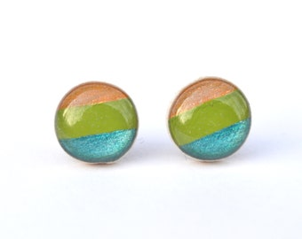Striped stud earrings. Striped studs. summer outdoors Striped post earrings wood earrings, minimalist jewelry eco fashion for her