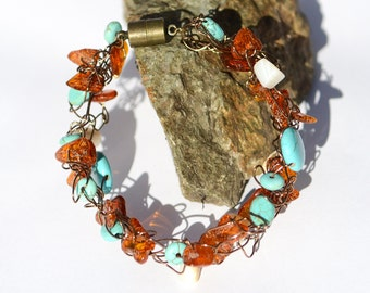 Amber and turquoise wire knit bracelet - hand knit antique brass wire bracelet with baltic Amber and turquoise