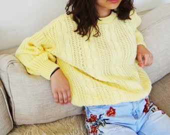 Vintage Sweater, UK16, Yellow, Knit, Vintage Clothing, Boho, Hippie, Jumper, Vintage Jumper, Retro Sweater