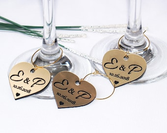 Wedding wine charms, Anniversary wine charms, Wine glass charms, Wedding charms, Custom wine charm, Wedding favor, Wedding charms. Gold