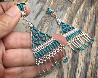 Vintage Zuni Earrings Needlepoint Turquoise Chandelier Earrings Native American Jewelry