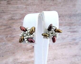 Small Pinwheel Earrings - Beaded Spiral Earrings - Everyday Earrings - Girlfriend Gifts Under 20 - Rainbow Jewelry - Everyday Jewelry - Stud
