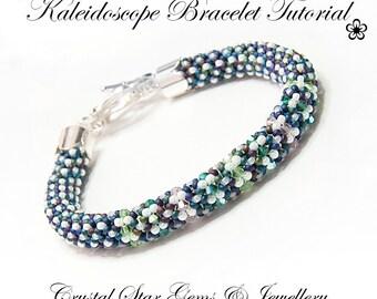 PDF beading tutorial pattern - Kaleidoscope chenille stitch bracelet
