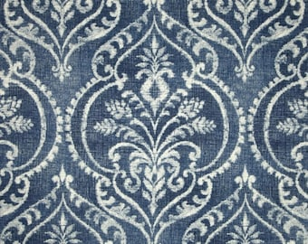 Swavelle/Mill Creek Dalusio Damask Denim   Home Decorator Fabric   Yardage   By the Yard   Cut to Size   White   Blue   Cotton  