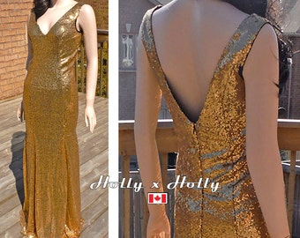 Gold sequin dress, gold sequin bridesmaid dress, party dress, long sequin dress