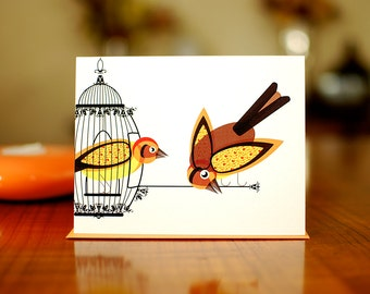 Birds on the Loose - Blank Card on 100% Recycled Paper