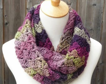 Multicolor Infinity Scarf - Pink, Purple, and Green Infinity Scarf - Wool Infinity Scarf - Crochet Infinity Scarf - Ready to Ship