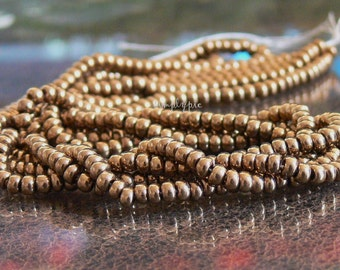 8/0 Czech Bronze Glass Seed Beads Two 20-Inch Long Strands
