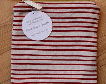 Red Stripes, Linen Zipper Pouch, Screen Printed Linen Bag