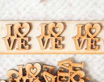 20 x Love Heart Wooden Shapes Card Making Embellishment Shapes