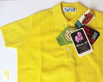 Vintage kids clothes, Tee-shirt kids, VINTAGE 60s 70s, yellow tee-shirt, lightweight jersey, size 8-9 years, Terlenka fabric