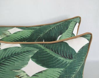 Lumbar Pillow Cover Tropical Palm Leaves Bronze Piping Zipper Tommy Bahama
