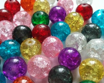 100pcs Assorted Beads - Crackle Beads - Glass Beads - Beads Bulk - Loose Beads - 10mm Beads - B05648