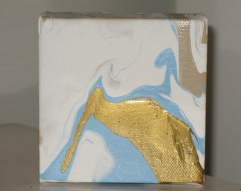 Pale Blue and Gold Abstract Painting