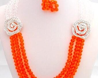 Handmade, Beaded, Jewelry, Jewelry Necklace, Beaded Necklace, Orange Necklace, Clear Necklace, Jewelry Set, Necklace, Earrings