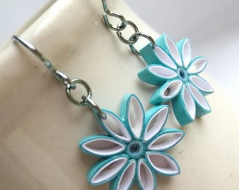 Aqua Ombre Nine Pointed Star Earrings Eco Friendly Earrings Paper Quilling bridesmaid gift Baha'i Jewelry Hypoallergenic