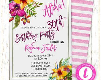 Aloha Hawaiian Invitation | Adult Birthday | Printable Editable Digital PDF File | Instant Download | Templett | ABI112DIY