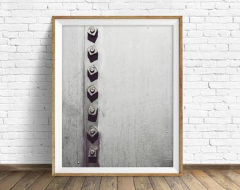 """black and white photography, large art, printable art, instant download printable art, digital download, industrial wall art -""""Rivets No. 1"""""""