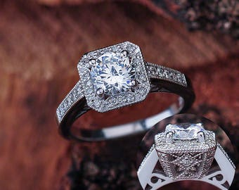 Moissanite Engagement Ring Round White Gold, NEO Moissanite Engagement Ring White Gold, Round Cut Moissanite Halo Engagement Ring White Gold