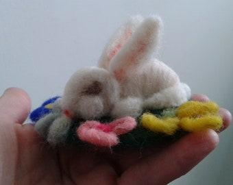 Easter Bunny Needle felted Easter rabbit Handmade Felting Bunny Home decor