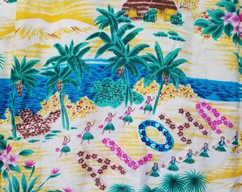 1960s Hawaiian Shirt / M - L / Hula Dancers / Natives / Rayon / Aloha Shirt / Tiki Shirt / Novelty / 1960s Mens Fashion / 1950s Shirt / 60s