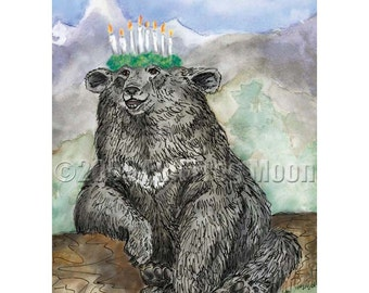 Long-winded Himalayan Bear and the Crown of Candles print