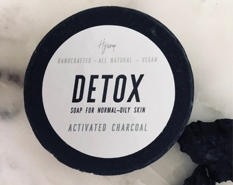 Activated Charcoal Detox Soap Bar   All Natural   Handmade Soap   Vegan   Draw out toxins   Cold Process