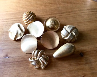 9 Vintage Gold Metal Buttons