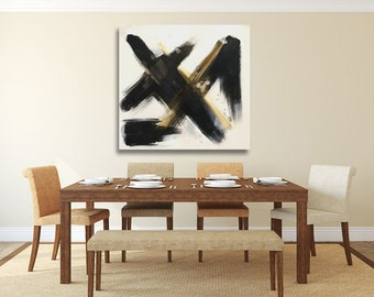 wide features minimalist painting black and gold