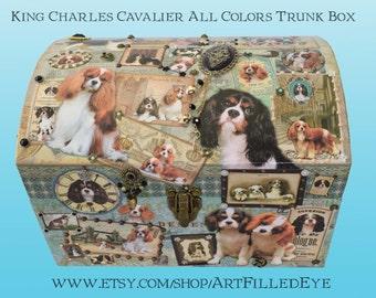 Green Decorative Embellished King Charles Cavalier Trunk Chest Box Decoupaged Blenheim-Tri color-Jewelry-Art-Artwork Memorial Keepsake-