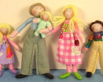 Dolls House Doll Set- the Pastel Family (customisable)