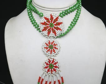 Beaded necklace green white and red Southwestern