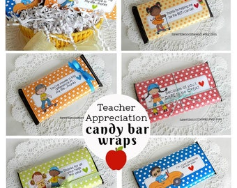 10 Teacher Appreciation Candy Bar Wraps / Hershey Candy bar Wraps / End of Year /Teacher Appreciation Gift Ideas