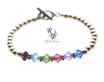 Mothers Bracelet Birthstone Bracelet Sterling Silver Birthstone Jewelry Swarovski Crystal Bracelet Mom Bracelet Mothers Day Gift