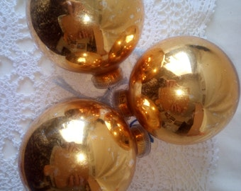 Set of 3 Glass Christmas Ornaments Decorations Made in England