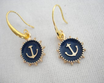 Blue anchor earrings, Anchor charm dangles, Nautical jewelry, Summer trends, Gift for her, Ocean inspired, Marine jewelry, For teen girls.