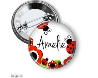 Ladybug pinback button badge or fridge magnet