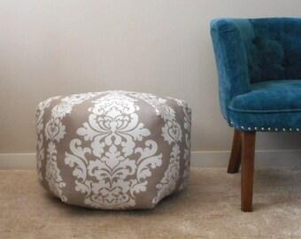 Grey pouf, Damask floor pouf, foot stool, Moroccan Pouf Ottoman