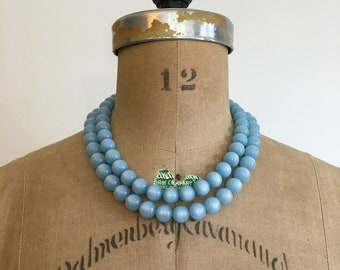 1950s 1960s Blue Moonglow Double Strand Bead Necklace 50s 60s