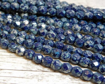6mm - Fire Polished Beads - Round Beads - Picasso Beads - Navy - Blue Beads - Czech Glass Beads - 25pcs (1817)