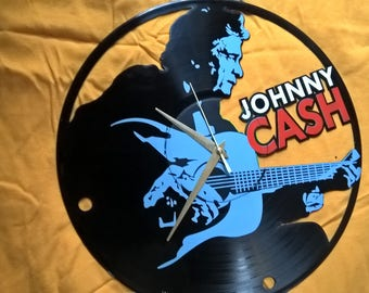 Johnny Cash Vinyl Record Wall Clock - Decorate your home with Modern Large upcycled 12''