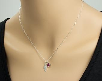 Engel Flügel und Birthstone Halskette, Sterling Silber, Flügel Halskette, Engelsflügel, Anhänger glauben, glauben Schmuck
