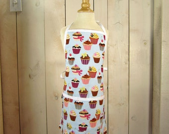 Cupcake Toddler Apron - Reversible apron - full apron - apron with pockets