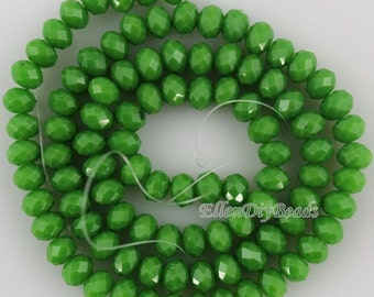 100 Pieces,New 6mm Romantic Green Rondelle Faceted Crystal Beads,Green Crystal Beads,1Strand,Gemstone Beads,Supplies-BR062