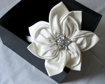 Agnes ivory dupioni silk diamante flower headband