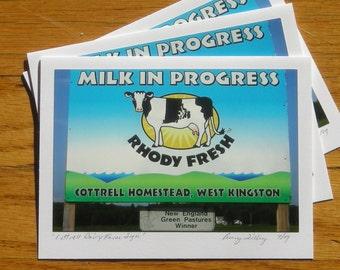 Cottrell Dairy Farm Sign, Photo Art Card
